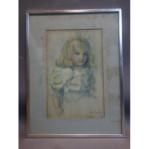 217 - Erin Bannister, study of a Victorian doll, signed, 32 x 21cm...
