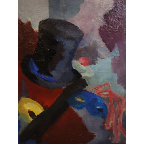 223 - L. Bailleul (20th century French), Still life of top hat and masks, oil on canvas, signed lower righ...