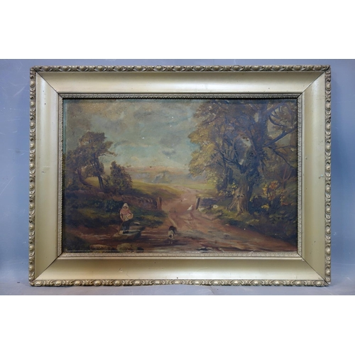 251 - Early 20th century British school, A lady with a dog and ducks on a country path, oil on board, unsi...