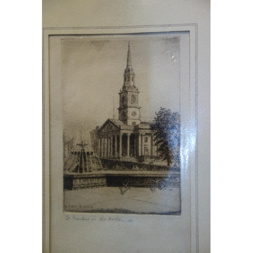 36 - Edward J. Cherry, an engraving of St Pauls cathederal from Ludgate hill, together with 2 other print...