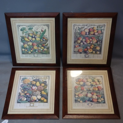 40 - A set of four 18th century style prints of fruit, 38 x 30cm, together with a small similar pair, 20 ...