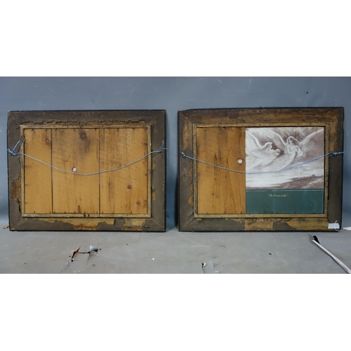 43 - A pair of Art Nouveau prints, set in oak frames, 40 x 57cm...