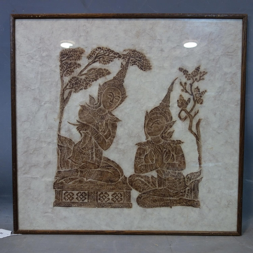 141 - A Thai rubbing of two deities in a garden setting, framed and glazed, 44 x 40cm...