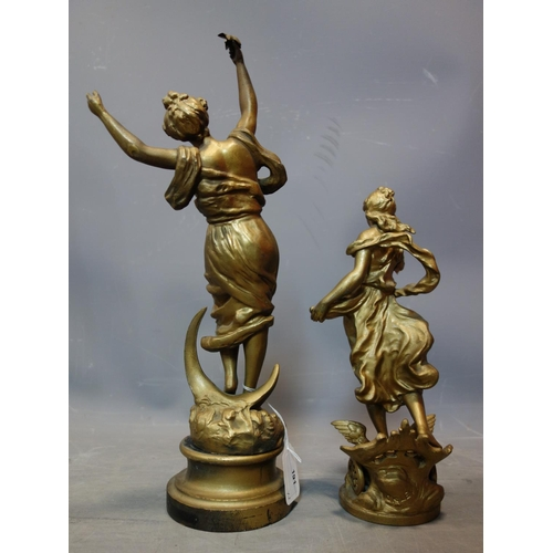 191 - Two gilt painted spelter figures of Classical ladies, to include one of a lady plucking stars out of...