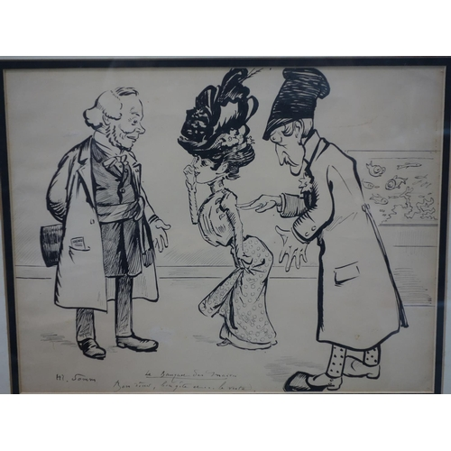 228 - Henry Somm 1844-1907, 'Le banquet des maires', ink on paper, 24 x 31cm...