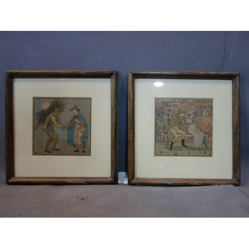 258 - A pair of Art Nouveau coloured prints, 16 x 16cm...