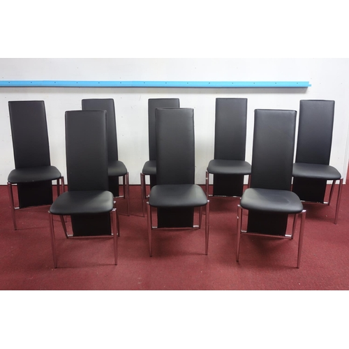 265 - A set of 8 contemporary chrome dining chairs...