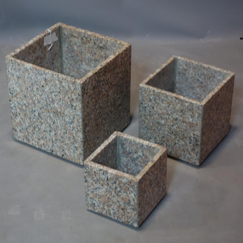 281 - Three marble planters of graduating size, H.26 W.23 D.23cm (largest)...