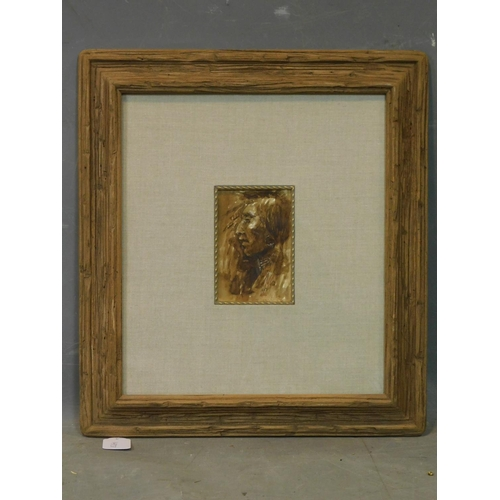 297 - Joe Beeler (American, 1931-2006), 'War Dance', watercolour, signed lower right, 15 x 10cm  With cert...