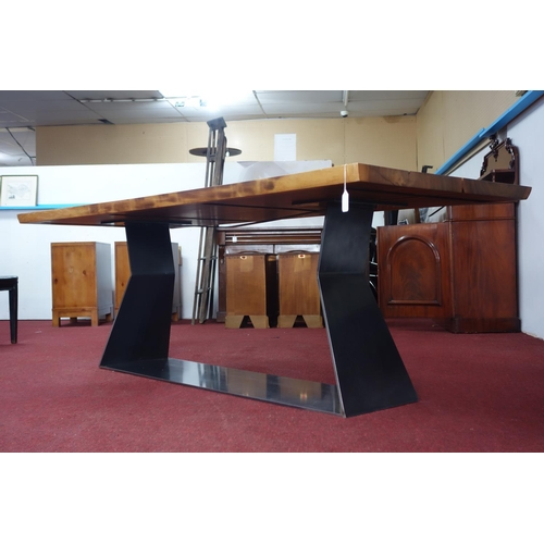 379 - A Riva 1920 Bedrock Plank C Table 6-8 Seater Walnut for Heals, H.77 W.220 D.95cm...