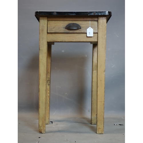 217 - A vintage pine kitchen table with enamelled zinc top and single drawer, H.73 W.46 D.46cm...