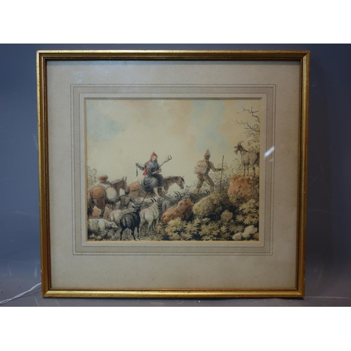 330 - A watercolour of figures herding goats, framed and glazed, 22 x 18cm...