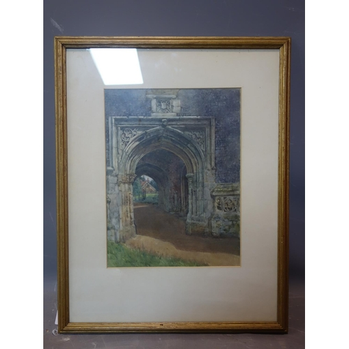 332 - A watercolour of a Gothic carved stone arch, signed and dated 1917 lower left, framed and glazed, 33...
