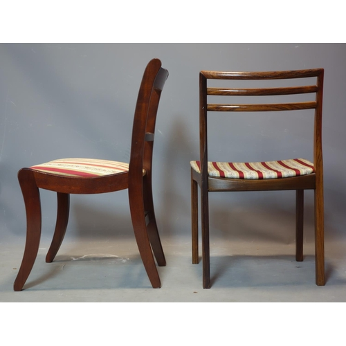 378 - A set of four mahogany dining chair on sabre legs, together with a single dining chair with square l...