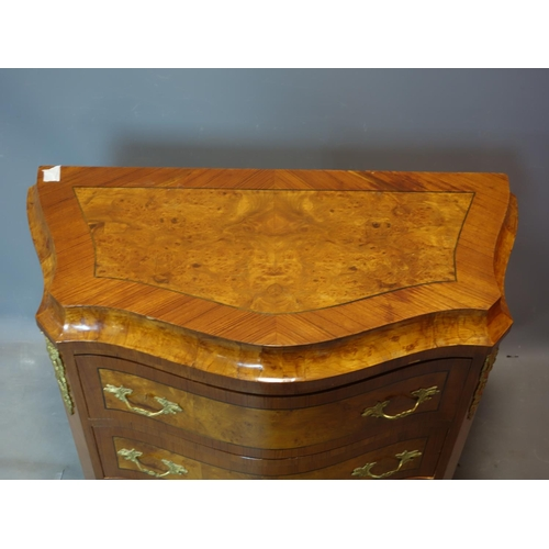 380 - A serpentine gilt metal mounted walnut chest of four drawers, 90 x 79cm...