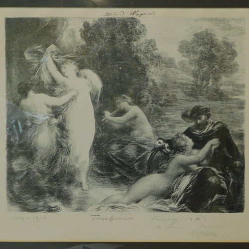 431 - A framed lithograph by Henri Fantin Latour inscribed and signed by the artist, a scene from a Richar...