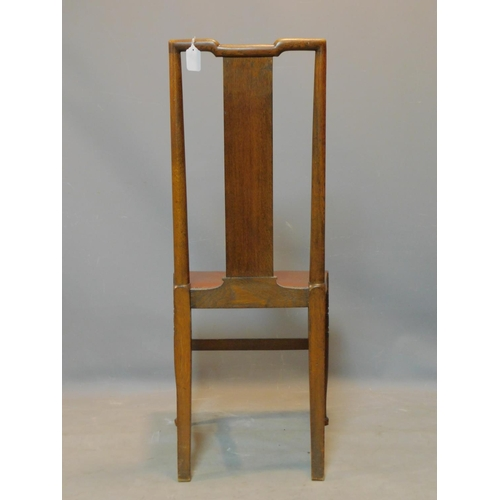 432 - An oak chair with stud bound leather seat on turned legs, H.100cm...