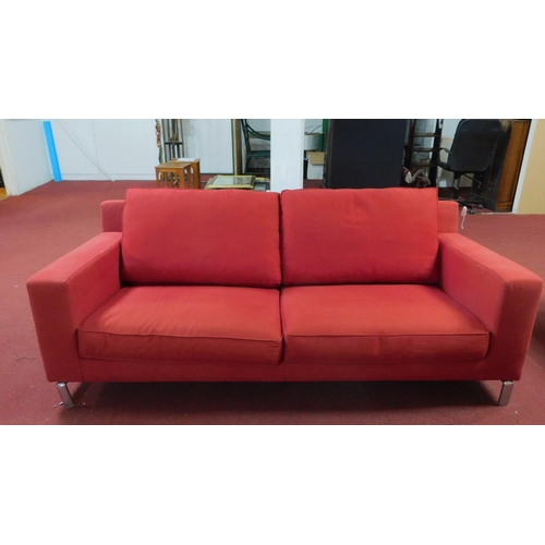 314 - A Molteni & C sofa raised on chrome supports, H.75 W.210 D.90cm...