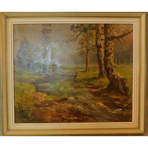355 - A framed oil on canvas, river in woodland, signed. H.60 W.69cm...