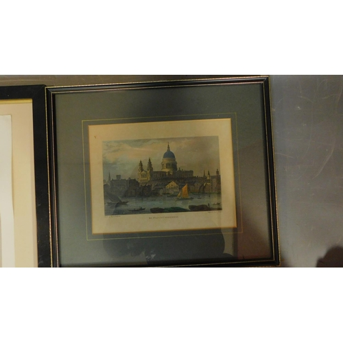 160 - A signed etching of Venice and a collection of 4 various framed and glazed prints.  64x51cm (largest...