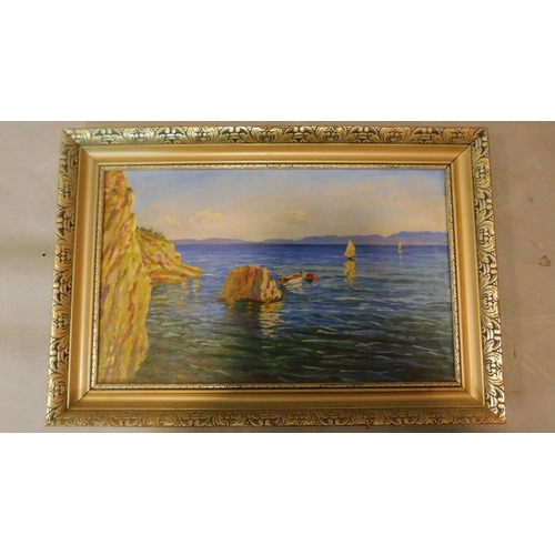 240 - A gilt framed oil on canvas, cliffs by the sea with sailing boat, signed M. Sablic. 60x40cm...