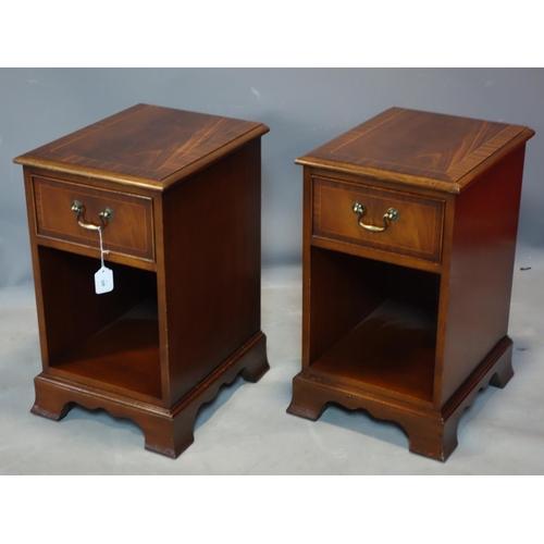 345 - A pair of mahogany single drawer side cabinets raised on bracket feet, H.60 W.35 D.43cm...