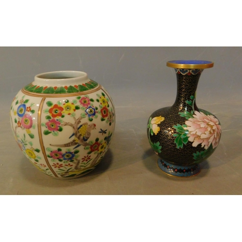 4 - A Chinese temple jar and a cloisonne vase. H.15cm (tallest)...
