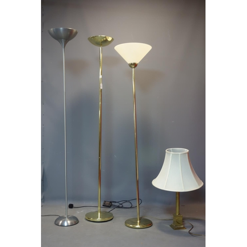 133 - Three uplighter floor lamps, together with a Corinthian column table lamp...