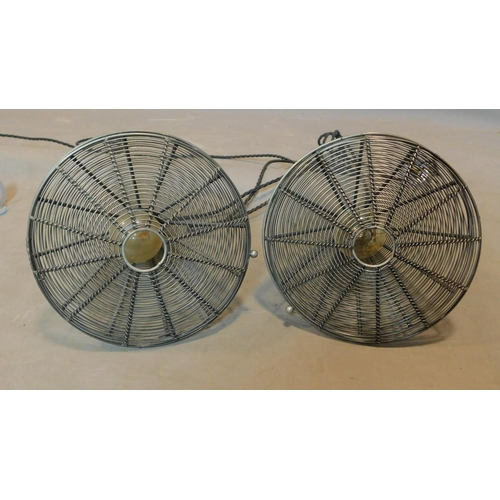 146 - A pair of industrial style wire mesh cone shaped ceiling light pendants, H.26 D.25cm...