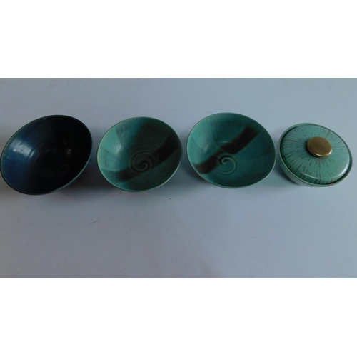 7 - Three Chinese bowls and a lidded pot. 17x17cm....