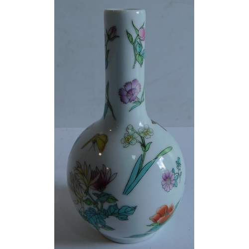 12 - A Chinese mid 20th century bottle vase decorated with butterflies and flowers, red seal mark to base...