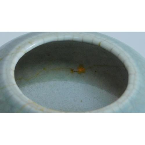 16 - A light blue crackle glazed Chinese brush pot. 8x14cm....