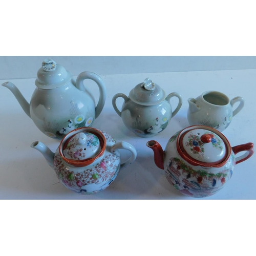 19 - A Japanese tea set and 2 Chinese tea pots 18x18cm....