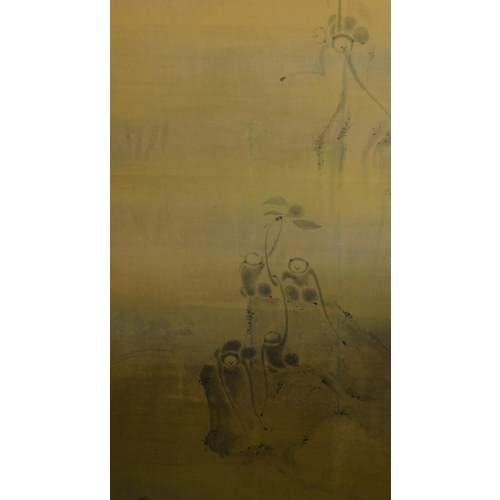 23 - A Japanese twin panel single fold screen decorated with hand painted monkeys in trees. 152x141cm...