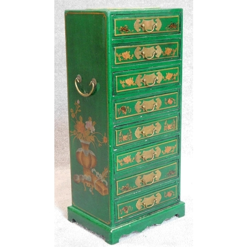 1 - A Chinese green lacquered and gilt decorated narrow chest of drawers. H.70 W.30 D.22cm...