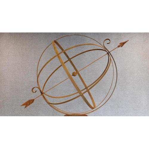 152 - A large full height metal garden armillary sphere with revolving central globe. H.205cm