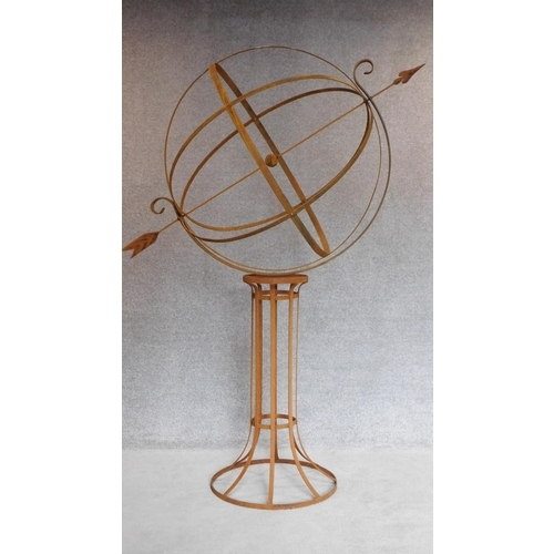 152 - A large full height metal garden armillary sphere with revolving central globe. H.205cm...