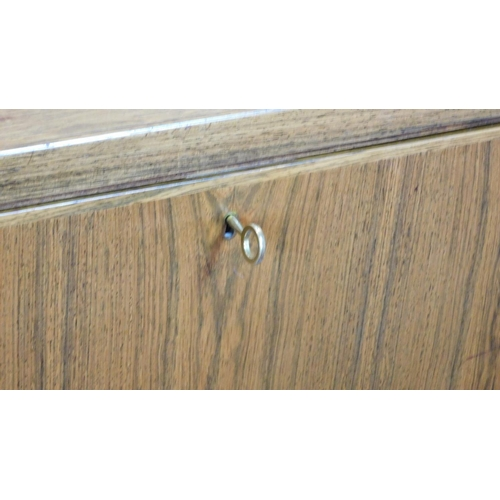 52 - A 1960's rosewood desk, Model 77 by Omann Jun Mobelfabrik, designed by Gunni Omann, fitted drawers, ...