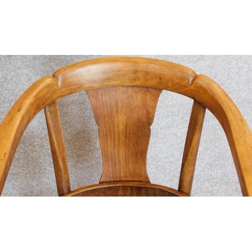 53 - A pair of early 20th century bentwood armchairs by Thonet, label and stamp to bottom. H.77cm