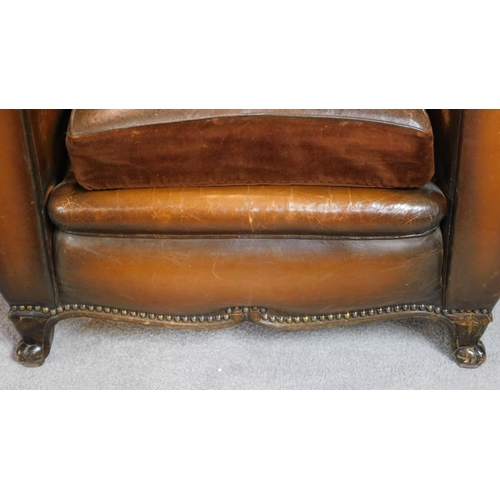 54 - A pair of vintage beech framed leather club armchairs on cabriole feet to front and back. H.80 W.93 ...
