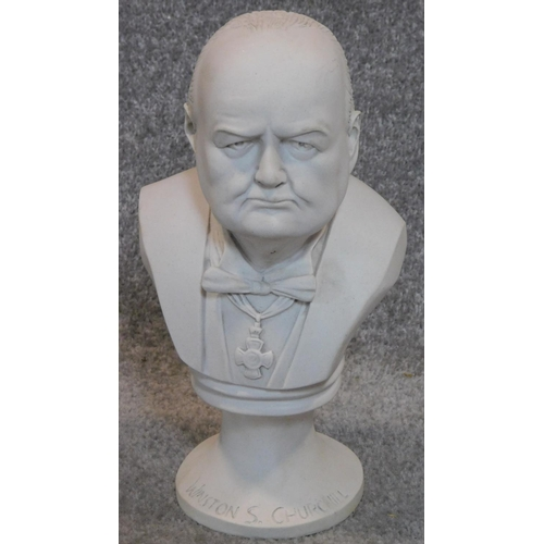 288 - A Carrara marble bust of Churchill, inscribed to base. H.31cm...