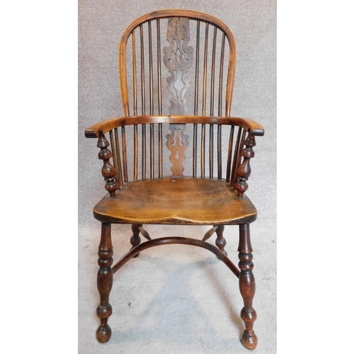 3 - WITHDRAWN - A pair of antique Windsor yew armchairs, pierced splat and crinoline stretchers with elm...