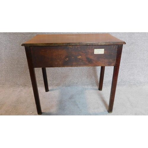 7 - A Georgian mahogany side table fitted frieze drawer on square supports. 72x80x46cm...