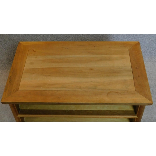 45 - A Chinese style low cabinet fitted base drawers. 50x80x50cm...
