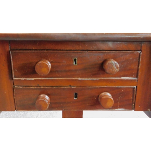 12 - A 19th century mahogany drop flap work table fitted frieze drawers. 69x71x49cm...
