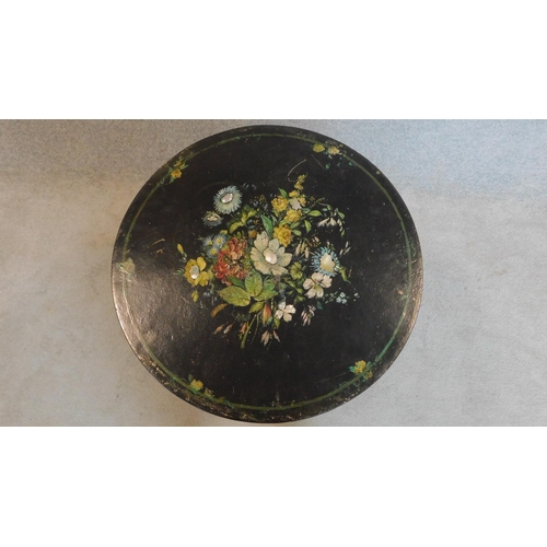 13 - A Victorian ebonised painted and mother of pearl inlaid circular occasional table. 70x61x61cm...