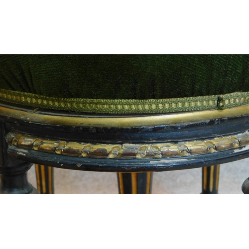 20 - A Victorian ebonised and gilt adjustable piano stool. H.48cm...