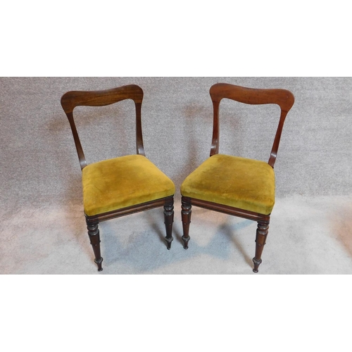 24 - A set of four mid Victorian mahogany dining chairs with shaped backs, mustard upholstery on turned t...
