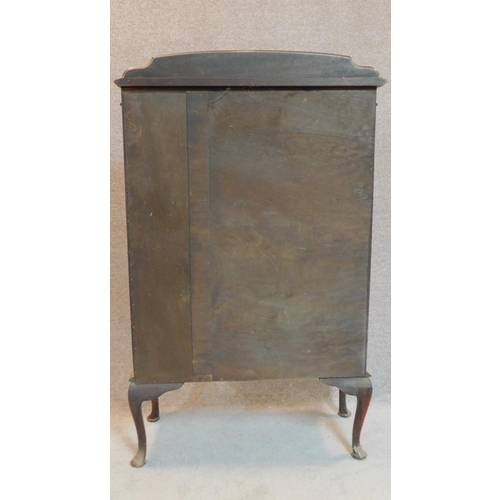 26 - An Edwardian mahogany display cabinet on cabriole supports. 127x77x24cm...