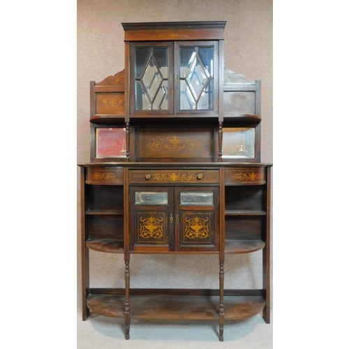 27 - A late 19th century rosewood and satinwood inlaid mirror backed sideboard, urn and swag arabesque in...